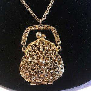Vintage ART Necklace And Purse Pendant